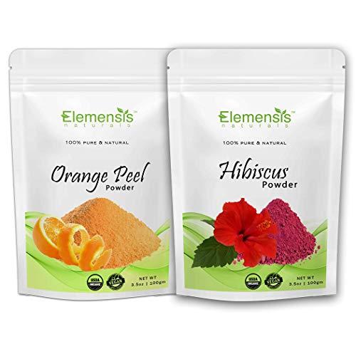 Elemensis Naturals Pure & Natural Organic Hibiscus Flower, Orange Fruit peel Powder - (Each 100 gm)