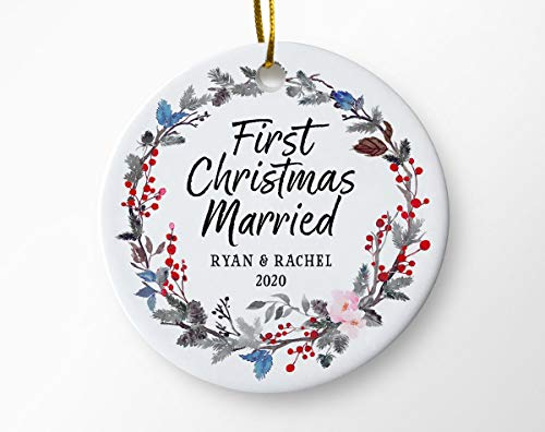 Lplpol 3 Inch First Christmas As Mr and Mrs Ornament Personalized First Christmas Married Ornament Couples Wedding Gift Newlywed Keepsake Ornament Christmas Ornament Tree Holiday Ornament