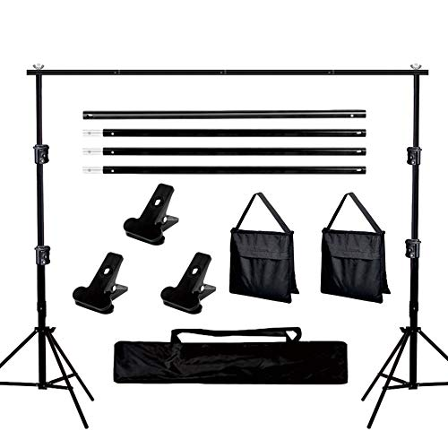 Aqirui Background Support System Kit 6.5x10ft Adjustable Photo Backdrop Stand with 3 x Spring Clamps and Carry Bag for Photography Photo Video