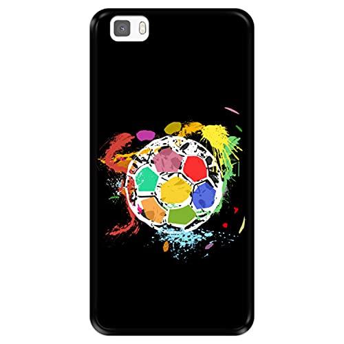 Funda Negra para [ Huawei P8 Lite ] diseño [ Balón de fútbol Abstracto, Multicolor ] Carcasa Silicona Flexible TPU