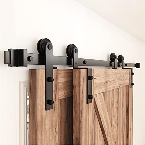 ZEKOO 4 FT- 12 FT Bypass Sliding Barn Door Hardware Kit, Single Track, Double Wooden Doors Use, Flat Track Roller, One-Piece Rail Low Ceiling (6FT Single Track Bypass)