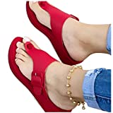 muuxien Non-Slip Platform Slippers Thick Sole Wedge Sandals Summer Casual Adjustable Strap Shoes Roman Sandals Women's Flat Sandals Sandals US 6.5-11 (Red, 10)