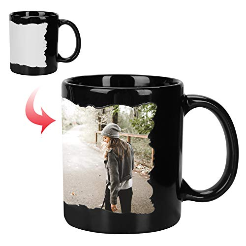 Personalised Mug with Your Photo Magic Coffee Tea Cup Night Light Personalized Image Text DIY Birthday Gift with A Free Spoon