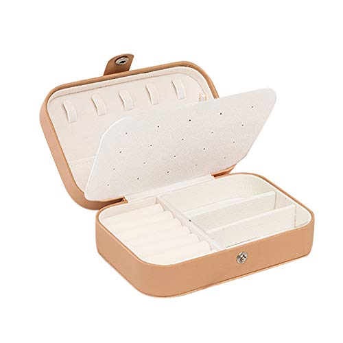 Small Jewelry Box Tdbest Travel Jewelry Organizer Display Case for Earrings Rings Necklace Bracelet Watch Lipstick Storage Leather Portable Jewelry Box for Women Yellow