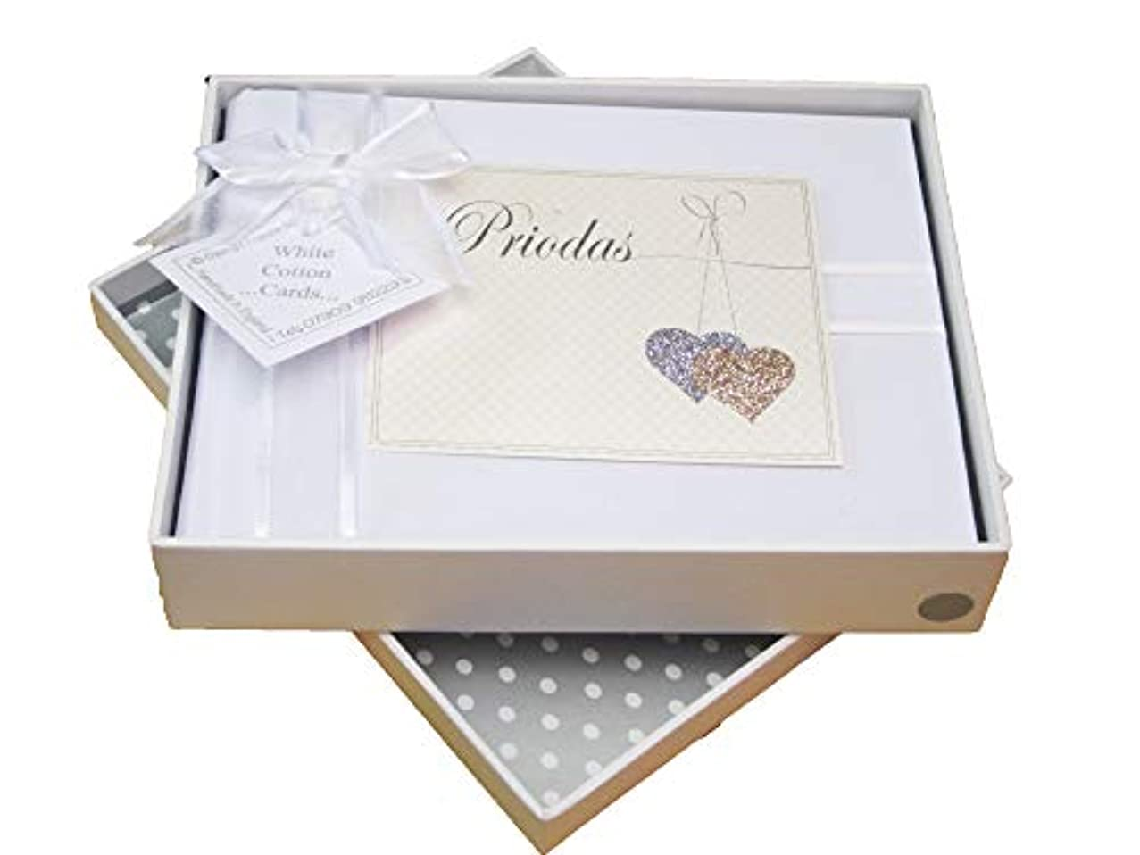 White Cotton Cards 'Priodas' Welsh Wedding Photo Album, Love Hearts (WLLH1S)