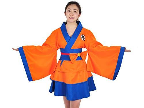 CoolChange Disfraz Kimono con diseño de Son Goku | Chaqueta y Falda para Mujer | Talla: S