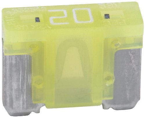 5 Pack Bussmann BP/ATM-20LP-RP Yellow ATM Low-Profile 20 Amp Fast-Acting Automotive Mini Blade Fuses - 5 per Card