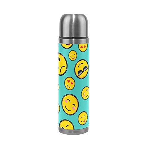 Alaza Emoji-Wasser Flasche Edelstahl auslaufsicher doppelwandige Vakuum Isoliert Thermoskanne Echt Leder Hülle für heiße und kalte Getränke 17Oz
