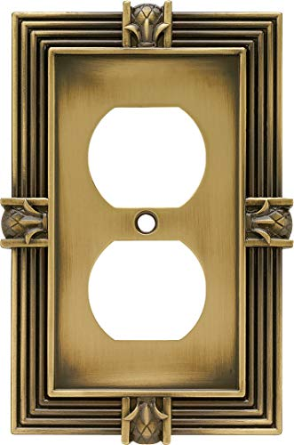 Franklin Brass 64472 Pineapple Single Duplex Outlet Wall Plate/Switch Plate/Cover, Tumbled Antique Brass