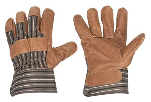 Condor Leather Gloves, L, Pigskin, Brown/Blue, Cotton/Polyester Glove Liner Material, 1 PR - 1 Each