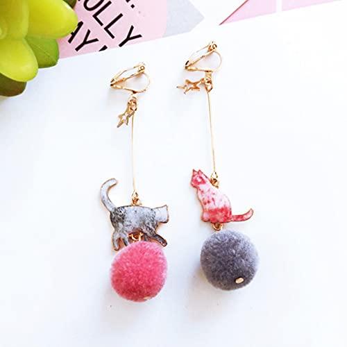 Lång sektion söt tecknad målad katthår bollklämma på örhängen icke piercad för kvinnor flicka örhänge smycken-klipp örhängen A