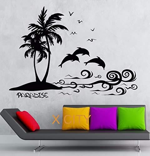 guijiumai Paradise Palm Island Landschaft Sea Wave Dolphin Wandkunst Aufkleber Aufkleber abnehmbare Vinyl Transfer Schablone Wandbild 102X144CM