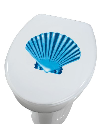 Wenko 18644100 3D-wc-dekselsticker Shell – zonder resten verwijderbaar, ca. 23 x 27,5 cm.
