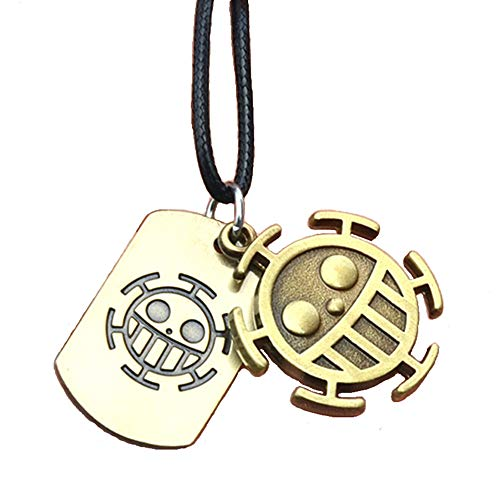 KOGNGU Hot Japan Anime One Piece Trafalgar Law Portgas D Ace Stud Necklace Cosplay (Leather Chain & Bronze)