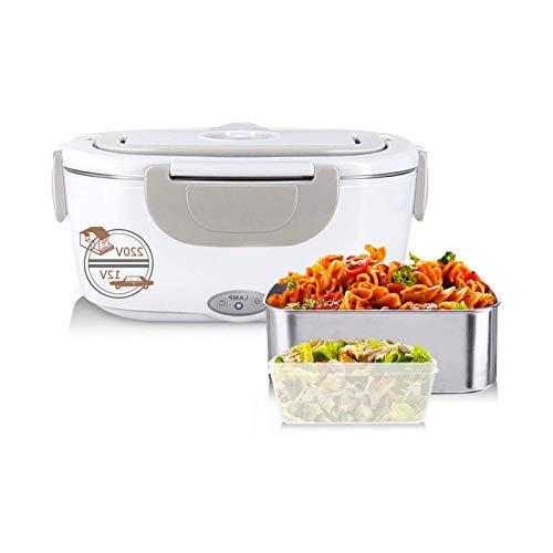 Fiambrera eléctrica de calefacción de 220 V/12 V para el hogar y el coche, contenedor de alimentos 2 en 1, color gris