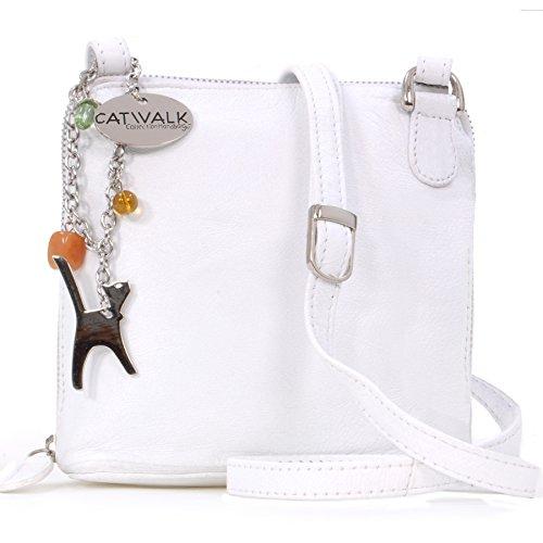 Catwalk Collection Handbags - Vera Pelle - Borse a Tracolla/Piccola Borsa a Mano/Messenger/Borsetta Donna - Con Ciondolo a Forma di Gatto - Lena - BIANCO