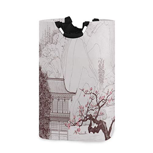 Old Chinese Painting of Landscape Wäschekorb, Eimer, faltbar, schmutzige Kleidung, Wäschekorb, Spielzeugaufbewahrung, Organizer für College Schlafsäle, Kinderzimmer, Badezimmer