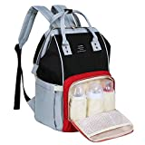 Landuo Diaper Bag Multi-Function Waterproof Travel Backpack Nappy Bags for Baby Care, Large Capacity, Stylish and Durable (Black-Red)
