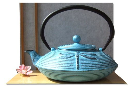 Gifts Of The Orient - Litro De Hierro Fundido Libélula Azul Tetsubin Tetera Tetera 0.8 Estilo Japonés