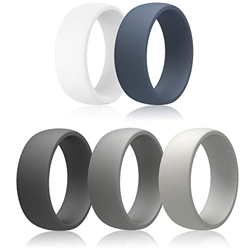 IBBM I WILL BE YOUR BEST MEMORY Silicone Ring for Men, Wedding Bands for Sports and Outdoor - 5 Pack - 8.7 MM Wide