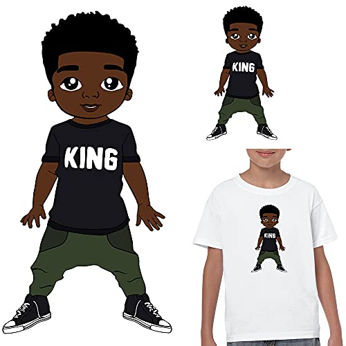 WSIRU Black Boy Iron On Patches for Clothing Design Afro King Kid Iron On Decals for T-Shirt Jackets Pillow Clothes Washable Heat Transfer Stickers Child Birthday Gifts 2PCS