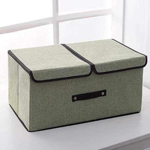 ZXL bewaarbox/stoffen bekleding, opbergdoos, groot opvouwbaar ondergoed, sokken, opbergdoos, slaapzaal, opbergdoos, 50 x 30 x 25 cm, groen