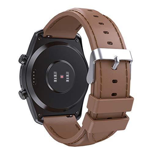 MoKo Correa Compatible con Galaxy Watch 3 45mm/Gear S3 Frontier/Classic/Galaxy Watch 46mm/Ticwatch Pro/Pro 3/Huawei Watch GT2 Pro, 22mm Pulsera de Repuesto de Silicona con Costuras, Marrón