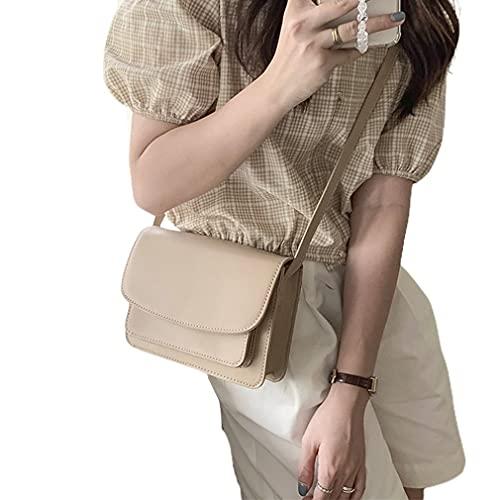 SeniorMar-UK PU-Leder-Umhängetasche-Beutel für Frauen Solid Color Flap Schulter Messenger Bag Lady Kette Travel tragbare Handtasche Aprikose 21x6x17cm