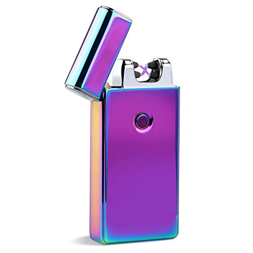 Lonni Electric Lighters Rechargeable Dual Arc, Black USB Windproof Flameless Electronic Cigarette Lighter for Cigarettes Smoking Camping BBQ Candle (Colorful)