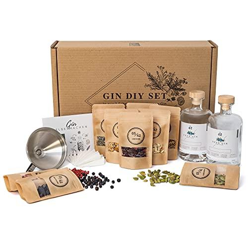 Gin Set zum Selbermachen inkl. Basisalkohol | Das DIY Gin Geschenkset für dein Tasting zu Hause | 10 ausgewählte Botanicals und Gewürze für dein eigenen Gin Tonic