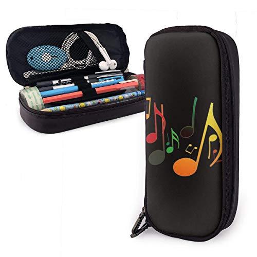 Portatodo de piel sintética de gran capacidad con doble cremallera para material de oficina y bolsa de viaje (geometría geométrica de colores del arco iris), color Colorful Music Note talla única