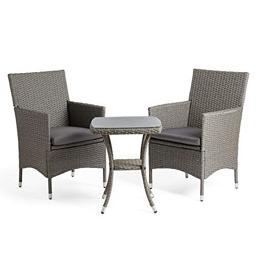 VonHaus Rattan Bistro Set – Outdoor 2 Seat Bistro Set with table - for Garden and Patio - Grey