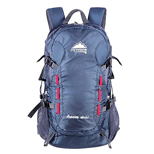 CYCYUZXW Ultraleichter Wasserdichter Rucksack Wanderrucksack 40L, geeignet für Wandern, Camping, Reisen, Sport (Grau Blau)