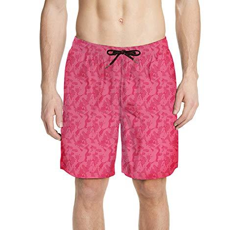 Swtshorts Costume da Bagno da Uomo con Stampa a Forma di Toro e Graffiti, Stile Hippie, Colore Rosa Multicolore XXXL