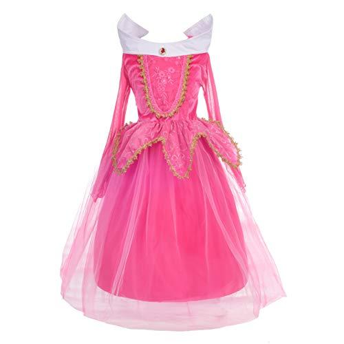 Lito Angels Disfraz de Bella Durmiente para Niñas Vestido de Princesa Aurora Fiesta de Cumpleaños Carnaval Halloween Talla 7 a 8 Años Rosa Fuerte