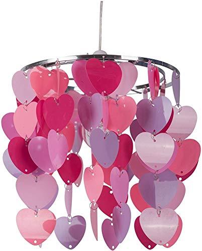 Raelf El dormitorio de rosa de la muchacha del corazón o del sitio del cuarto del corazón del melocotón cadena luz 60W Pequeña Araña Decoración minimalista E27 lámpara Ahora Infantil [energética A ++]