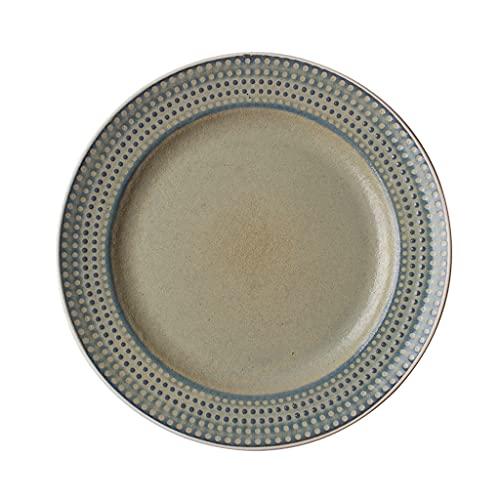 Plato de cena de cerámica en relieve retro creativo con tecnología de glaseado antirrayas que puede contener bistec, ensalada, pasta, postre, horno de microondas, apto para lavavajillas, 8.5 pulgad