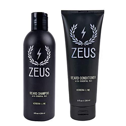 ZEUS Beard Shampoo and Beard Conditioner Set para Hombres - (Botellas de 8 oz.) (Aroma: Verbena Lime)