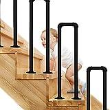 Pandrail de la escalera para pasos de concreto de cemento al aire libre, escaleras ancianas en forma de U Barandilla de la barandilla Rieles de soporte de mano para la entrada exterior, Mate Black Met