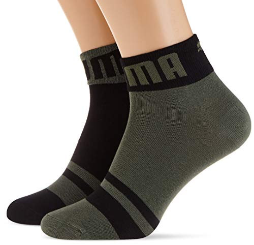 PUMA Mens Seasonal Logo Men's Quarter (2 Pack) Casual Sock, Army Green, 39/42 (2er Pack)