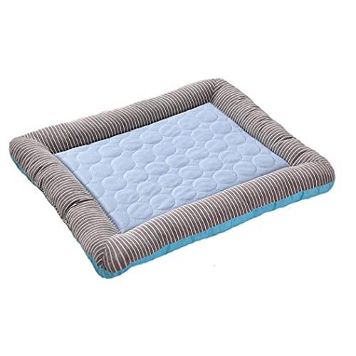 VusiElag Mascota de enfriamiento del cojín del Verano del Perro Dormir de la Estera de enfriamiento Gatos Manta de Seda del Hielo Dormir del Perrito del colchón Blue M