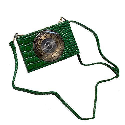Real Working Clock Shoulderbags Creative Crocodile Pattern Small Bag Female Diagonal Small Bags Real Clock Purse and Handbags Womens Steampunk Style Handbag (Green)