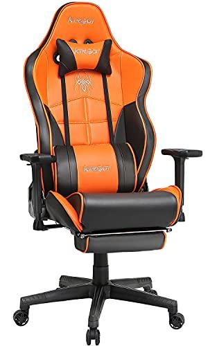 Kirogi Sedia da Gaming, Sedia da Gamer con Poggiapiedi, Sedia Ergonomica da Computer, sedia da PC gaming Reclinabile per adulti, Grande e alta Sedia da Ufficio in fibra di carbonio e Pelle.arancione