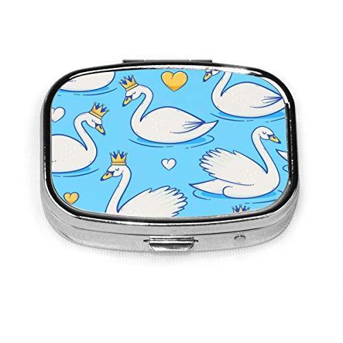 Pelican Birds Palm Leaves benutzerdefinierte Mode Silber quadratische Pille Box Medizin Tablettenhalter Brieftasche Organizer Fall für Tasche oder Geldbörse Vitamin Organizer Halter dekorative Box