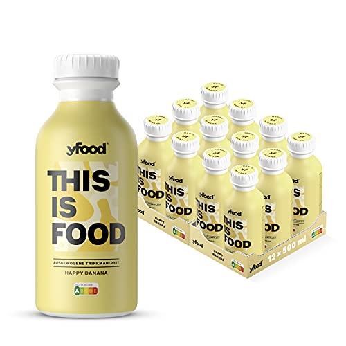 yfood banana | batido sustitutivo | THIS IS FOOD drink | 34g de proteínas, 26 vitaminas y minerals (12 x 500 ml)