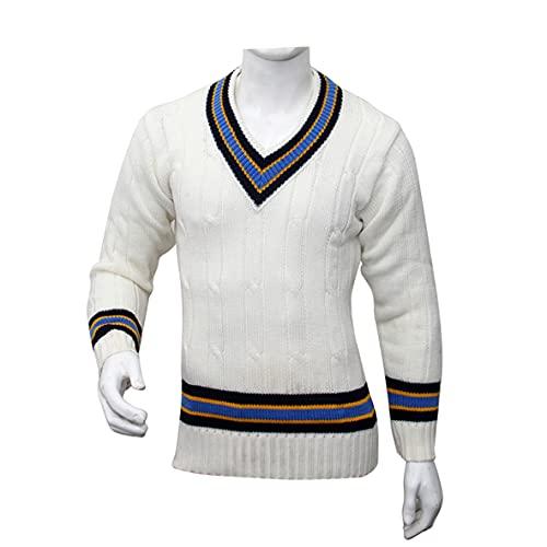 3M Herren Cricket-Pullover, weiß, V-Ausschnitt, schwere Wolle, Sport, Sport, Spielen, ultimativer Pullover, Wahl (ärmellos oder langärmelig) (28, ärmellos)