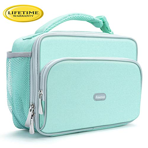 Amersun Kids Lunch Box,Durable Insulated School Lunch Bag with Padded Liner Keep Food Warm Cold for Long Time,Small Water-resistant Thermal Travel Office Lunch Cooler for Girls Boy-2 Pocket,Light Blue