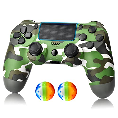 YU33 Wireless Controller for PS-4, Joystick for PS-4 with Charging Cable,Midnight Blue New Model(Green)