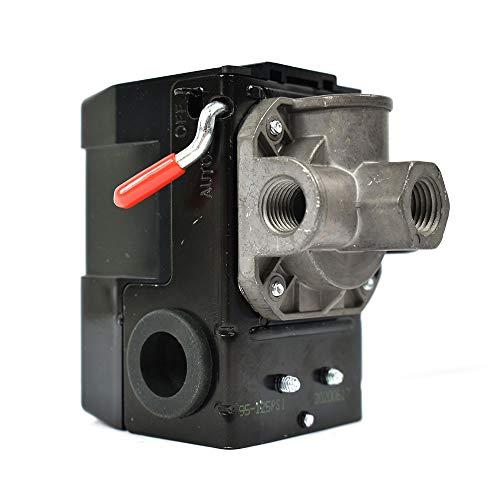 Interstate Pneumatics LF10-4H-MP Pressure Switch - 1/4 inch FPT Four Port - Bend Lever Swicth 95-125 PSI fits Dewalt Hitachi Emglo Makita Porter Cable Ridgid Rolair Air Compressors