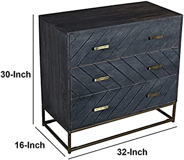 30 Inches 3 Drawer Mango Wood Storage Chest with Tubular Metal Base in Gray